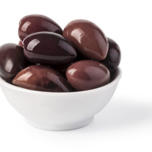 Bowl of marinated kalamata olives isolated on white. with clipping path